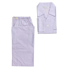 Savile Collection by Derek Rose Pajamas - Cotton, Long Sleeve (For Men) in Charcoal/Lavender/White Stripe - Closeouts
