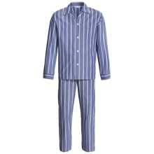 Savile Collection by Derek Rose Pajamas - Cotton, Long Sleeve (For Men) in Denim Blue/White Multi Stripe - Closeouts