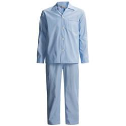 Savile Collection by Derek Rose Pajamas - Cotton, Long Sleeve (For Men) in Denim Blue/White Multi Stripe
