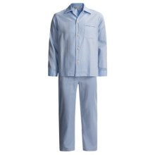 Savile Collection by Derek Rose Pajamas - Cotton, Long Sleeve (For Men) in Faded Blue Herringbone - Closeouts