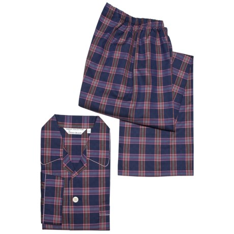Savile Collection by Derek Rose Pajamas - Cotton, Long Sleeve (For Men) in White/Light Blue Check