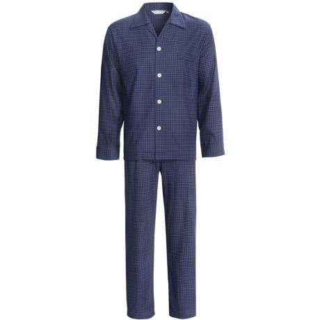 Savile Collection by Derek Rose Pajamas - Cotton, Long Sleeve (For Men) in Wine/White/Blue Stripe