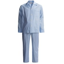 Savile Collection by Derek Rose Pajamas - Cotton, Long Sleeve (For Men) in Pale Blue Birdseye - Closeouts