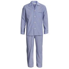 Savile Collection by Derek Rose Pajamas - Cotton, Long Sleeve (For Men) in Piped Navy - Closeouts