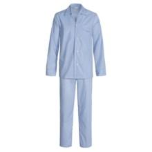 Savile Collection by Derek Rose Pajamas - Cotton, Long Sleeve (For Men) in Powder Blue/Navy/White Pin Stripe - Closeouts