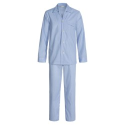 Savile Collection by Derek Rose Pajamas - Cotton, Long Sleeve (For Men) in Powder Blue/Navy/White Pin Stripe