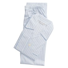 Savile Collection by Derek Rose Pajamas - Cotton, Long Sleeve (For Men) in White/Blue/Light Blue Stripe - Closeouts