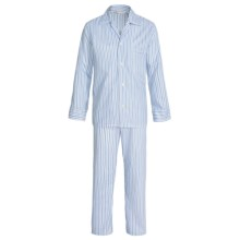 Savile Collection by Derek Rose Pajamas - Cotton, Long Sleeve (For Men) in White/Chambray Blue Multi Stripe - Closeouts