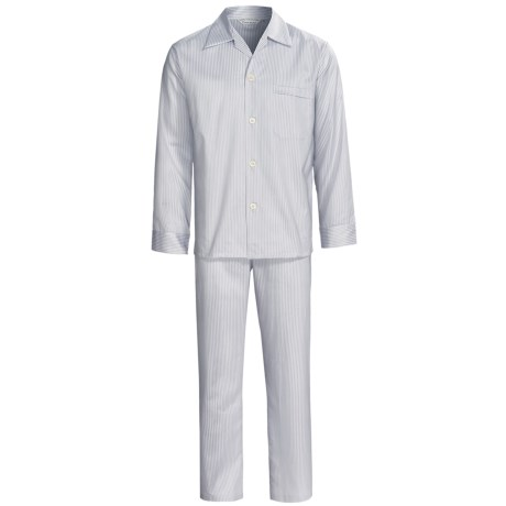 Savile Collection by Derek Rose Pajamas - Cotton, Long Sleeve (For Men) in Baby Blue/Blue Wide Stripe