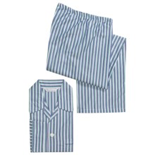 Savile Collection by Derek Rose Pajamas - Cotton, Long Sleeve (For Men) in White/Green/Blue Stripe - Closeouts