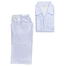 Savile Collection by Derek Rose Pajamas - Cotton, Long Sleeve (For Men) in White/Light Blue Check - Closeouts