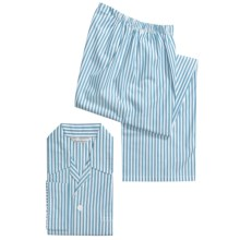 Savile Collection by Derek Rose Pajamas - Cotton, Long Sleeve (For Men) in White/Teal Stripe - Closeouts