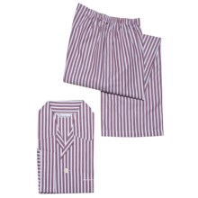 Savile Collection by Derek Rose Pajamas - Cotton, Long Sleeve (For Men) in White/Wine Stripe - Closeouts