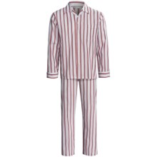 Savile Collection by Derek Rose Pajamas - Cotton, Long Sleeve (For Men) in Wine/White/Blue Stripe - Closeouts