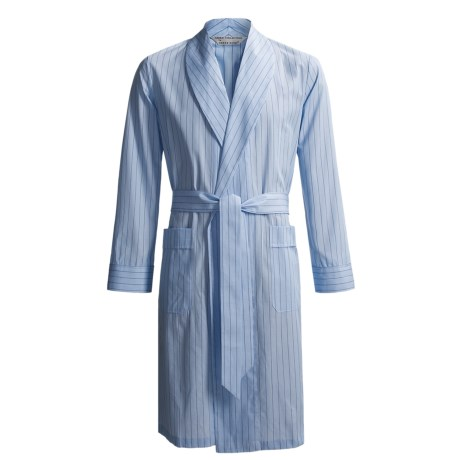 Savile Collection by Derek Rose Robe - Cotton (For Men) in Baby Blue/Blue Wide Stripe