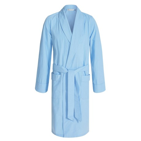 Savile Collection by Derek Rose Robe - Cotton (For Men) in Baby Blue Mini Gingham