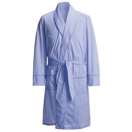 Savile Collection by Derek Rose Robe - Cotton (For Men) in Blue Mini Herringbone