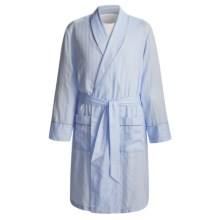 Savile Collection by Derek Rose Robe - Cotton (For Men) in Blue Mini Herringbone - Closeouts