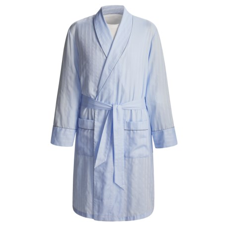 Savile Collection by Derek Rose Robe - Cotton (For Men) in Chambray Blue/White Bengal Stripe