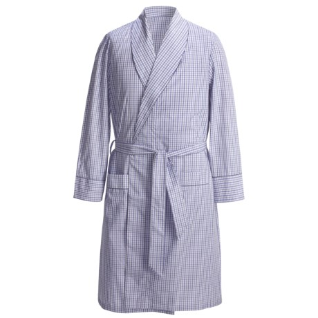 Savile Collection by Derek Rose Robe - Cotton (For Men) in Pale Blue Birdseye