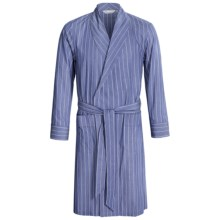 Savile Collection by Derek Rose Robe - Cotton (For Men) in Blue/White Multi Stripe - Closeouts