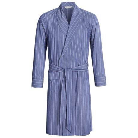 Savile Collection by Derek Rose Robe - Cotton (For Men) in Blue/White Multi Stripe