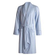 Savile Collection by Derek Rose Robe - Cotton (For Men) in Blue / White Multi Stripe - Closeouts