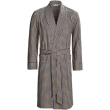 Savile Collection by Derek Rose Robe - Cotton (For Men) in Brown/Blue Check - Closeouts