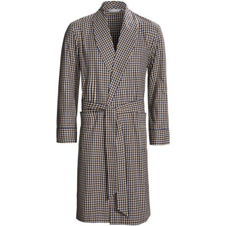 Savile Collection by Derek Rose Robe - Cotton (For Men) in Brown/Blue Check