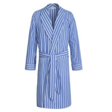 Savile Collection by Derek Rose Robe - Cotton (For Men) in Chambray Blue/White Bengal Stripe - Closeouts