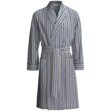 Savile Collection by Derek Rose Robe - Cotton (For Men) in Charcoal/Blue/Navy Multi Stripe - Closeouts