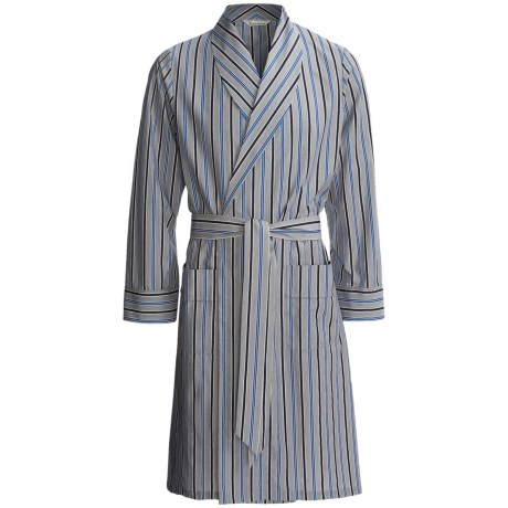 Savile Collection by Derek Rose Robe - Cotton (For Men) in Charcoal/Blue/Navy Multi Stripe