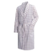 Savile Collection by Derek Rose Robe - Cotton (For Men) in White W/ Berry / Light Blue / Pink Plaid - Closeouts