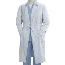 Savile Collection by Derek Rose Robe - Cotton (For Men) in White W/ Blue Stripe - Closeouts
