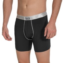 SAXX Underwear Platinum Boxers with Fly (For Men) in Black/Silver - Closeouts