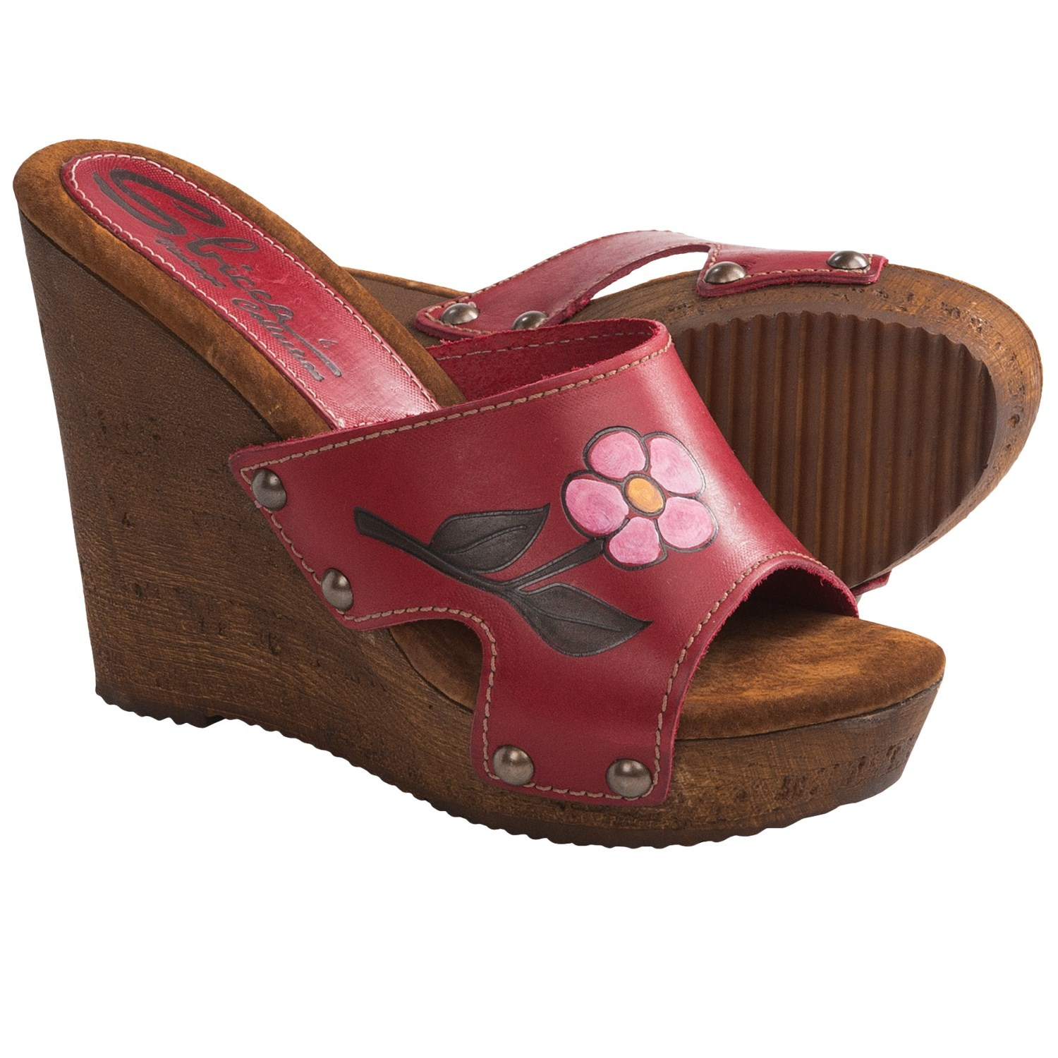 Sbicca Leaf Wedge Sandals (For Women) in Red