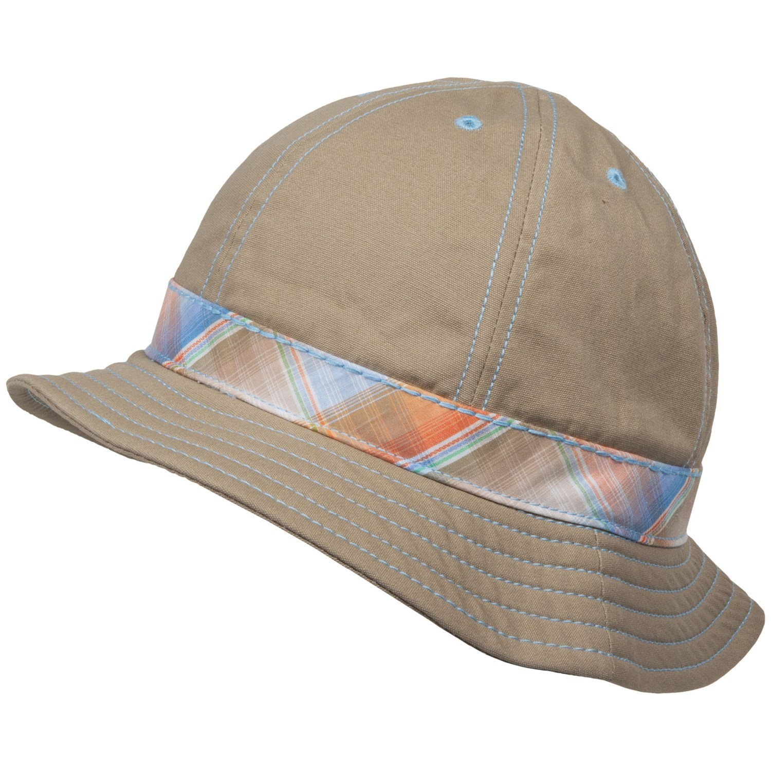 scala cotton hat madras band for in khaki