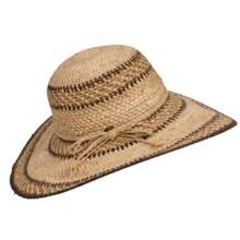 Scala Crocheted Big-Brim Hat - Raffia Straw (For Women) in Tea - Closeouts