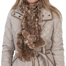 Scala Crocheted Rabbit Fur Scarf (For Women) in Brown - Closeouts