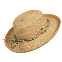 Scala Crocheted Raffia Upturn Hat (For Women) in Natural - Closeouts