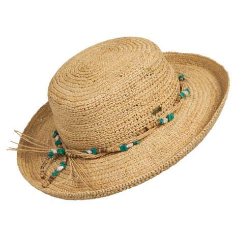 Scala Crocheted Raffia Upturn Hat For Women