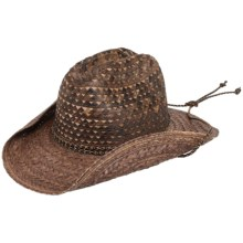 Scala Fancy Buri Straw Western Hat - Chin Cord (For Men and Women) in Chocolate - Closeouts
