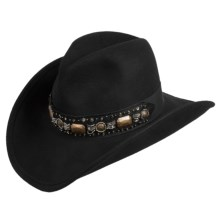 Scala Pinch-Front Cowboy Hat - Wool Felt (For Men and Women) in Black - Closeouts