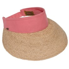 Scala Raffia Visor (For Women) in Salmon - Closeouts