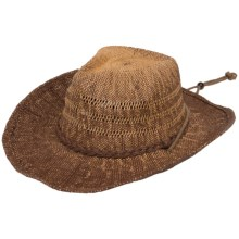 Scala Two-Toned Western Hat - Chin Cord (For Men and Women) in Brown - Closeouts