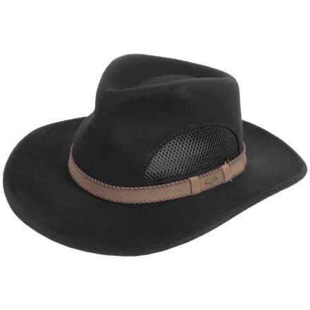 Scala Wool Felt Safari Hat - Crushable, Mesh Ventilation (For Men) in Black - Closeouts