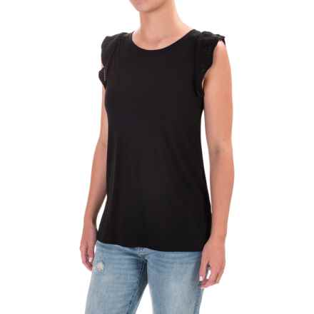 Scallop Sleeve Shirt - Pima Cotton, Short Sleeve (For Women) in Black - 2nds