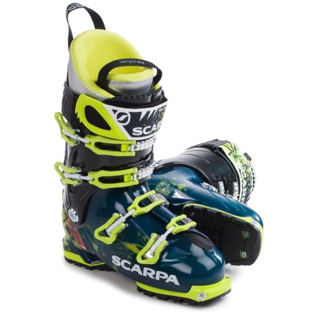 Scarpa Freedom SL Alpine Touring Ski Boots (For Men) in Ink Blue/Lime