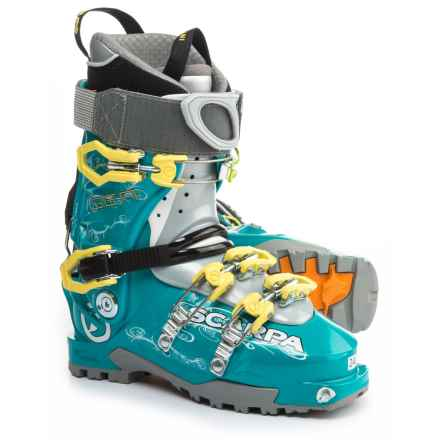 Scarpa Gea Alpine Touring Ski Boots - Dynafit Compatible (For Women) in Blue/Lime - Closeouts