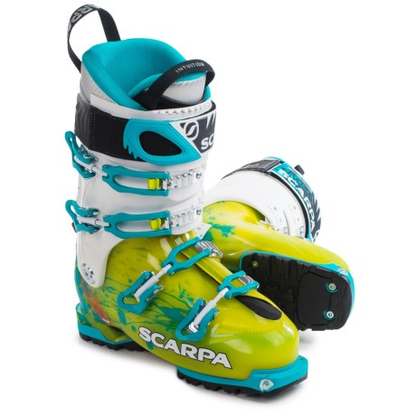 Scarpa Made in Italy Freedom SL Alpine Touring Ski Boots - Dynafit Compatible (For Women) in Lime/Turquoise